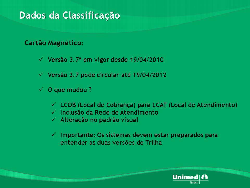 Dados da Classificação Cartão Magnético :  Versão 3.7ª em vigor desde 19/04/2010  Versão 3.7 pode circular até 19/04/2012  O que mudou .