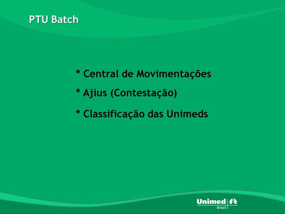 * Central de Movimentações * Ajius (Contestação) * Classificação das Unimeds PTU Batch