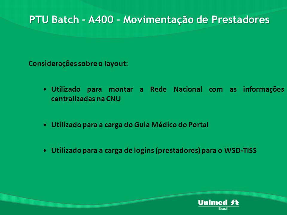 PTU Batch – A400 – Movimentação de Prestadores Considerações sobre o layout: •Utilizado para montar a Rede Nacional com as informações centralizadas na CNU •Utilizado para a carga do Guia Médico do Portal •Utilizado para a carga de logins (prestadores) para o WSD-TISS