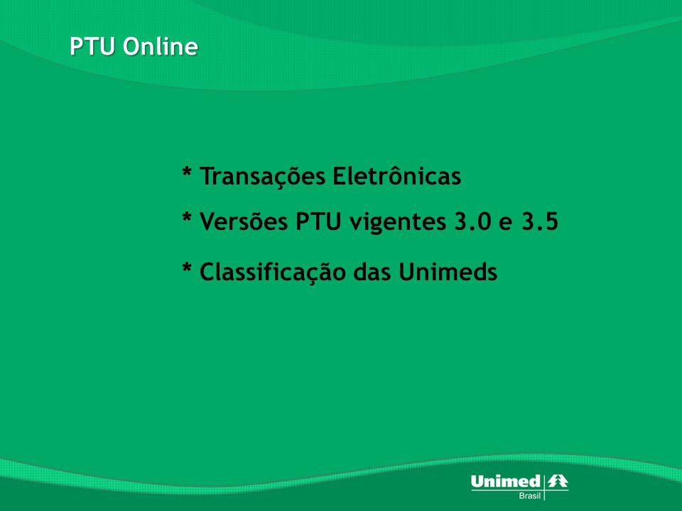 * Transações Eletrônicas * Versões PTU vigentes 3.0 e 3.5 * Classificação das Unimeds PTU Online