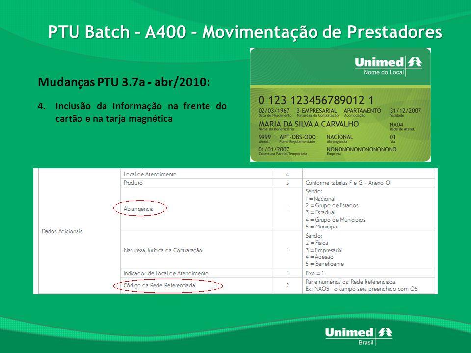 PTU Batch – A400 – Movimentação de Prestadores Mudanças PTU 3.7a - abr/2010: 4.Inclusão da Informação na frente do cartão e na tarja magnética
