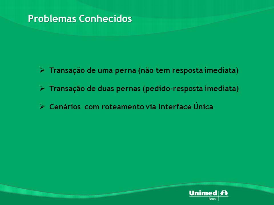 Problemas Conhecidos  Transação de uma perna (não tem resposta imediata)  Transação de duas pernas (pedido-resposta imediata)  Cenários com roteamento via Interface Única