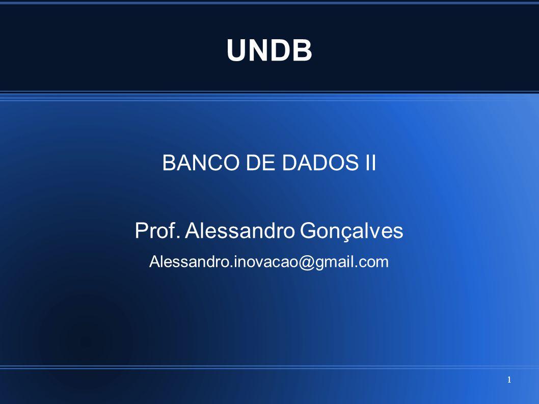 UNDB BANCO DE DADOS II Prof. Alessandro Gonçalves Alessandro.inovacao@gmail.com 1