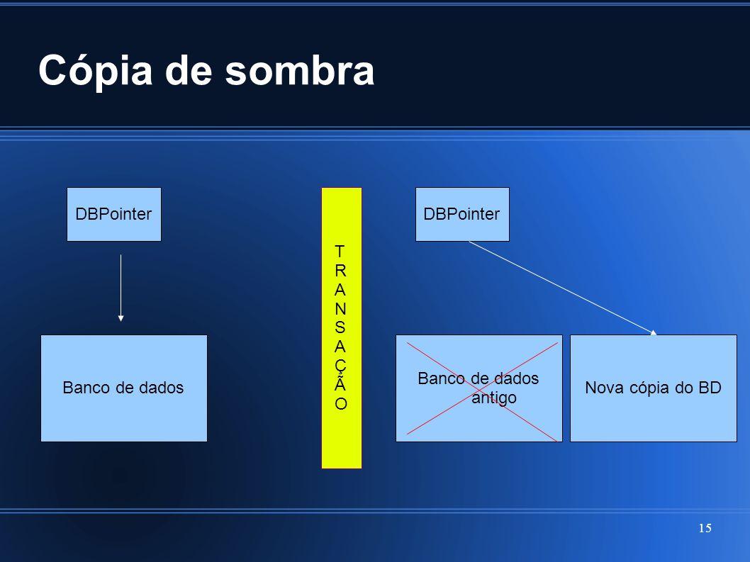 Cópia de sombra 15 DBPointer Banco de dados TRANSAÇÃOTRANSAÇÃO DBPointer Banco de dados antigo Nova cópia do BD