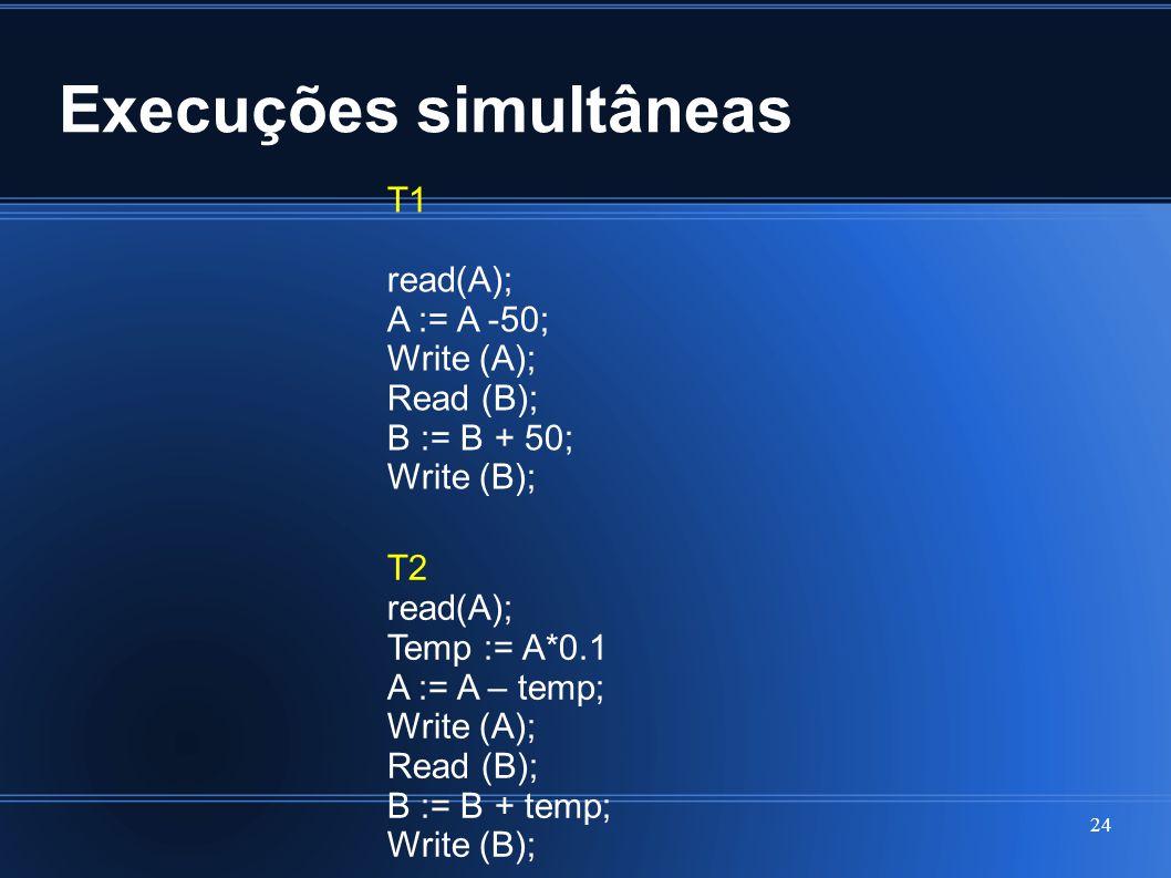 Execuções simultâneas 24 T1 read(A); A := A -50; Write (A); Read (B); B := B + 50; Write (B); T2 read(A); Temp := A*0.1 A := A – temp; Write (A); Read