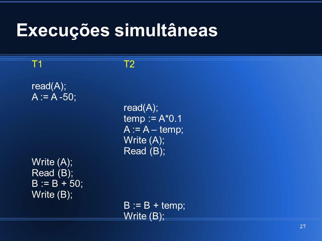 Execuções simultâneas 27 T1 read(A); A := A -50; Write (A); Read (B); B := B + 50; Write (B); T2 read(A); temp := A*0.1 A := A – temp; Write (A); Read