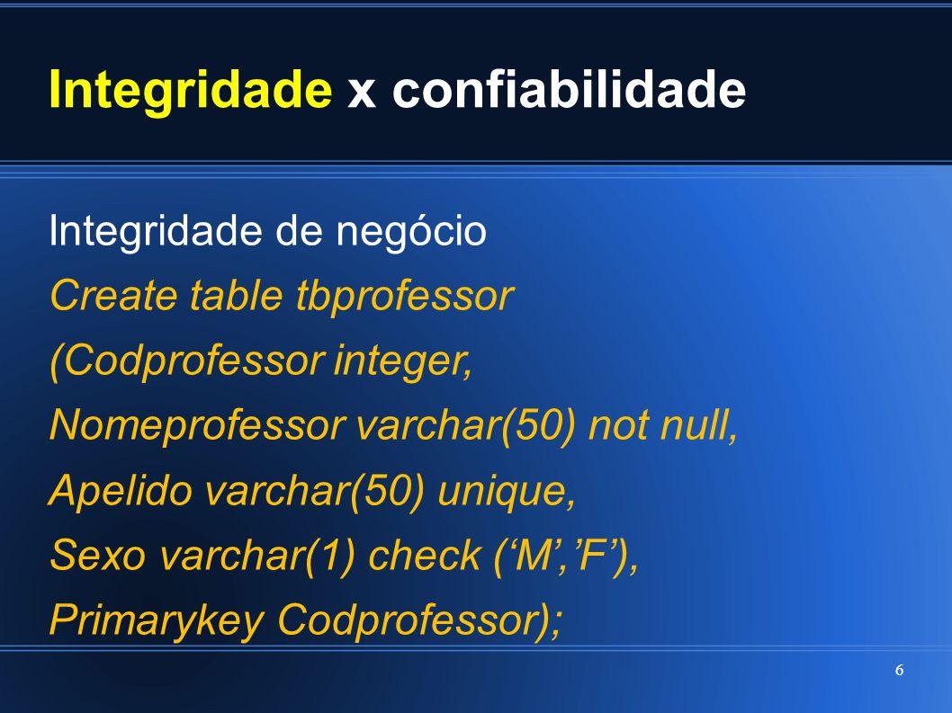 Integridade x confiabilidade Integridade de negócio Create table tbprofessor (Codprofessor integer, Nomeprofessor varchar(50) not null, Apelido varcha