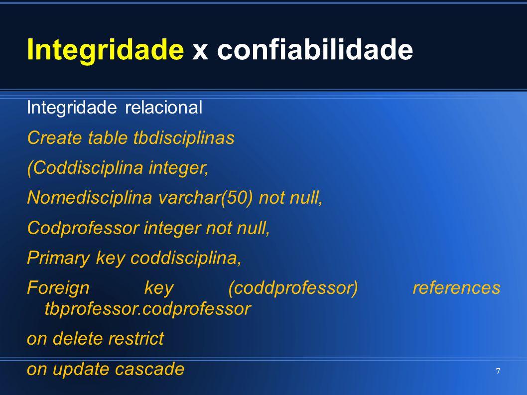 Integridade x confiabilidade Integridade relacional Create table tbdisciplinas (Coddisciplina integer, Nomedisciplina varchar(50) not null, Codprofess