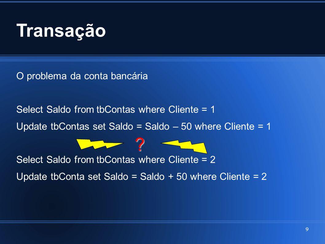Transação O problema da conta bancária Select Saldo from tbContas where Cliente = 1 Update tbContas set Saldo = Saldo – 50 where Cliente = 1 Select Sa