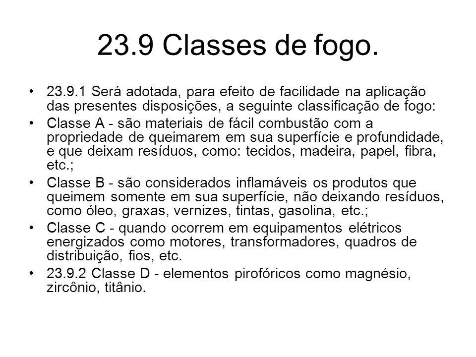 23.9 Classes de fogo. •23.9.1 Será adotada, para efeito de facilidade na aplicação das presentes disposições, a seguinte classificação de fogo: •Class