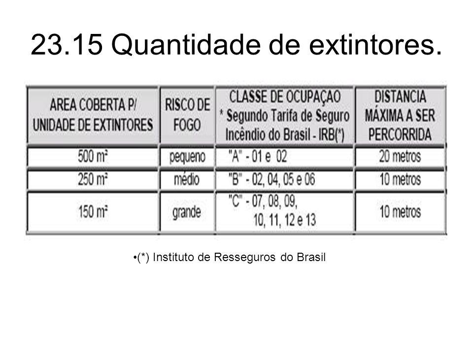 23.15 Quantidade de extintores. •(*) Instituto de Resseguros do Brasil