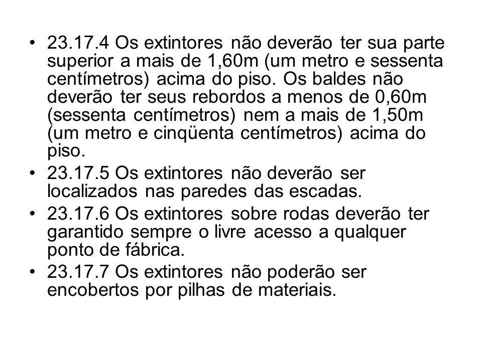 •23.17.4 Os extintores não deverão ter sua parte superior a mais de 1,60m (um metro e sessenta centímetros) acima do piso. Os baldes não deverão ter s