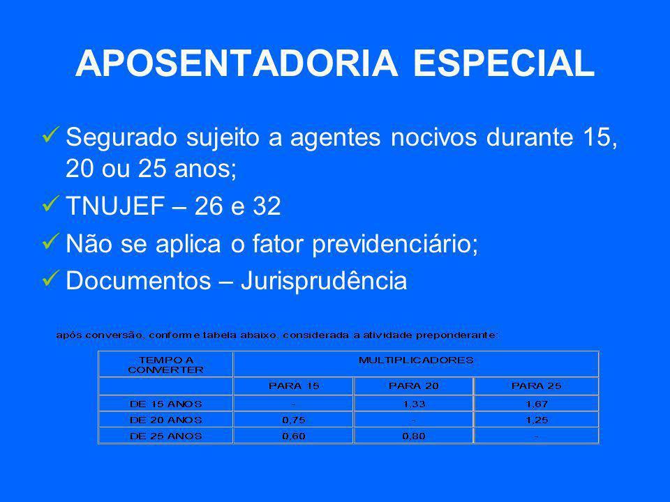 APOSENTADORIA ESPECIAL  Segurado sujeito a agentes nocivos durante 15, 20 ou 25 anos;  TNUJEF – 26 e 32  Não se aplica o fator previdenciário;  Do