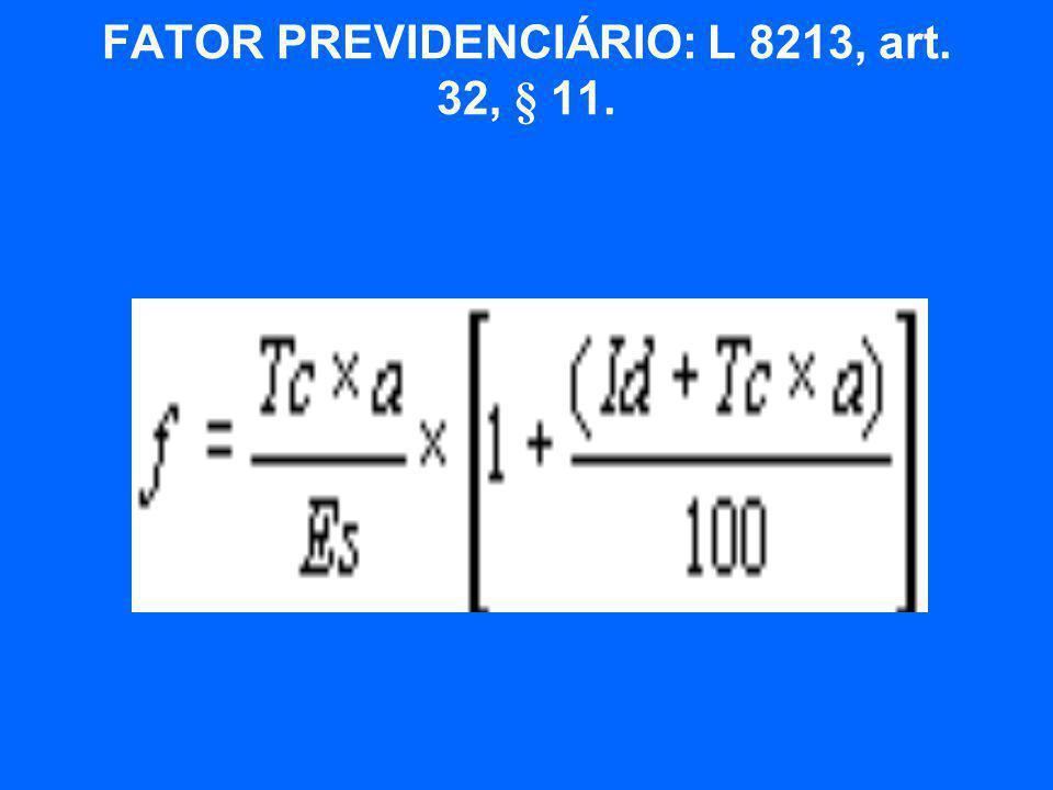  f = fator previdenciário;  Es = expectativa de sobrevida no momento da aposentadoria;  Tc = tempo de contribuição até o momento da aposentadoria;  Id = idade no momento da aposentadoria; e  a = alíquota de contribuição correspondente a 0,31.