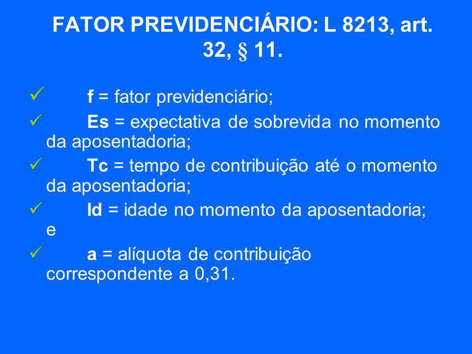  f = fator previdenciário;  Es = expectativa de sobrevida no momento da aposentadoria;  Tc = tempo de contribuição até o momento da aposentadoria;