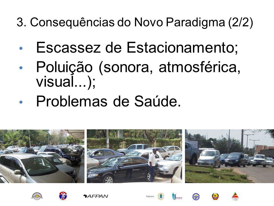 3. Consequências do Novo Paradigma (2/2) • Escassez de Estacionamento; • Poluição (sonora, atmosférica, visual...); • Problemas de Saúde.