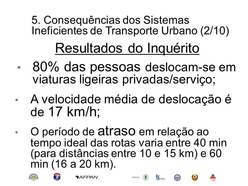 5. Consequências dos Sistemas Ineficientes de Transporte Urbano (2/10) • 80% das pessoas deslocam-se em viaturas ligeiras privadas/serviço; Resultados