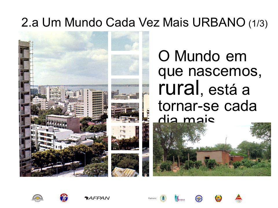 2.a Um Mundo Cada Vez Mais URBANO (2/3) A Maior parte da população mundial vive hoje nas Cidades e Vilas Os sintomas são: www.unicef.org/sowc2012/urbanmap