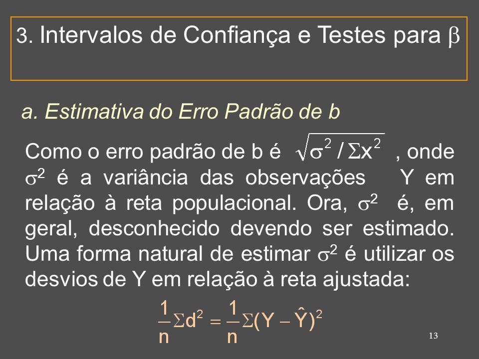 13 3. Intervalos de Confiança e Testes para  a. Estimativa do Erro Padrão de b Como o erro padrão de b é, onde  2 é a variância das observações Y em