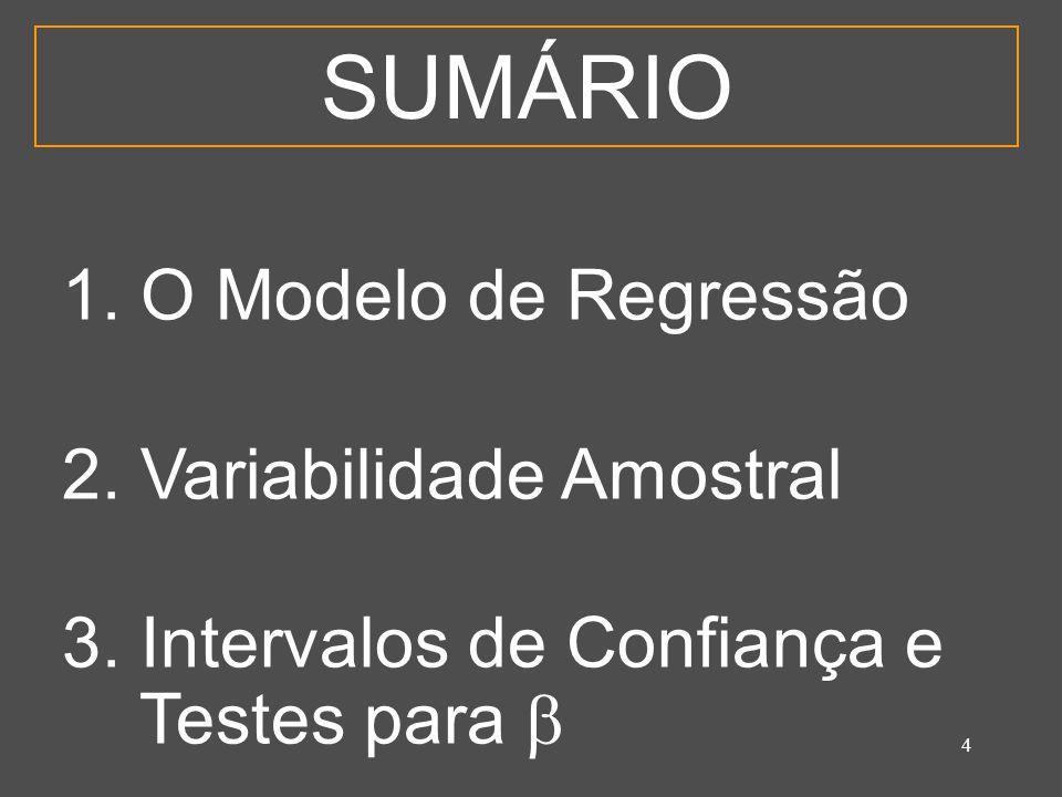 4 SUMÁRIO 1. O Modelo de Regressão 2. Variabilidade Amostral 3. Intervalos de Confiança e Testes para 