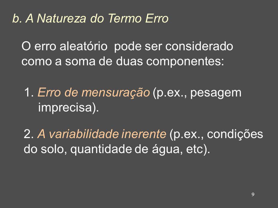 9 b. A Natureza do Termo Erro O erro aleatório pode ser considerado como a soma de duas componentes: 1. Erro de mensuração (p.ex., pesagem imprecisa).