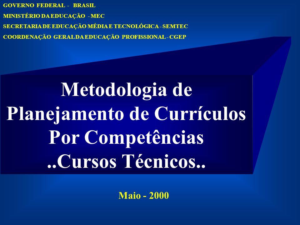 Metodologia de Planejamento de Currículos Por Competências..Cursos Técnicos.. GOVERNO FEDERAL - BRASIL MINISTÉRIO DA EDUCAÇÃO - MEC SECRETARIA DE EDUC