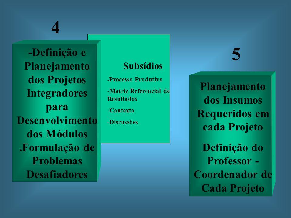 Subsídios - Processo Produtivo -Matriz Referencial de Resultados -Contexto -Discussões -Definição e Planejamento dos Projetos Integradores para Desenvolvimento dos Módulos.Formulação de Problemas Desafiadores 4 Planejamento dos Insumos Requeridos em cada Projeto Definição do Professor - Coordenador de Cada Projeto 5