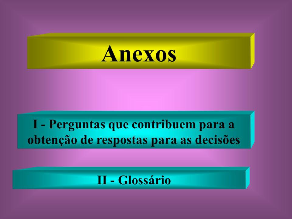 Anexos I - Perguntas que contribuem para a obtenção de respostas para as decisões II - Glossário