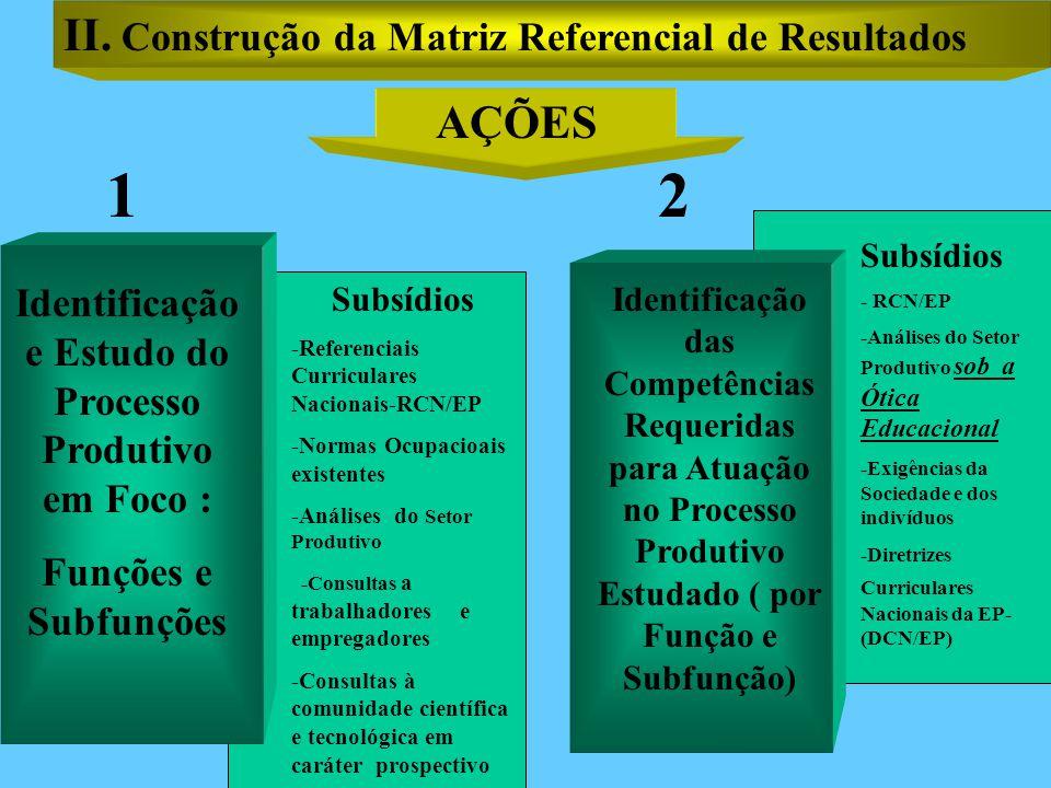 AÇÕES Subsídios -Referenciais Curriculares Nacionais-RCN/EP -Normas Ocupacioais existentes -Análises do Setor Produtivo -Consultas a trabalhadores e empregadores -Consultas à comunidade científica e tecnológica em caráter prospectivo Identificação e Estudo do Processo Produtivo em Foco : Funções e Subfunções Identificação das Competências Requeridas para Atuação no Processo Produtivo Estudado ( por Função e Subfunção) Subsídios - RCN/EP -Análises do Setor Produtivo sob a Ótica Educacional -Exigências da Sociedade e dos indivíduos -Diretrizes Curriculares Nacionais da EP- (DCN/EP) 12 II.