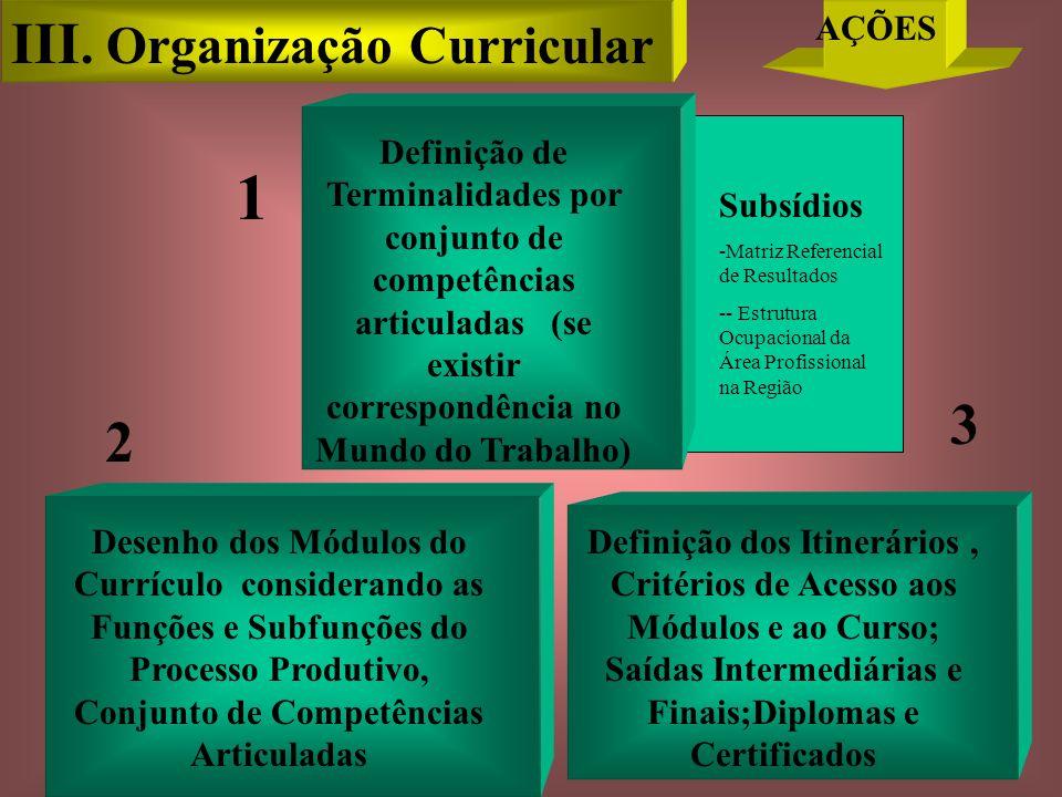 Desenho dos Módulos do Currículo considerando as Funções e Subfunções do Processo Produtivo, Conjunto de Competências Articuladas Subsídios -Matriz Referencial de Resultados -- Estrutura Ocupacional da Área Profissional na Região Definição de Terminalidades por conjunto de competências articuladas (se existir correspondência no Mundo do Trabalho) Definição dos Itinerários, Critérios de Acesso aos Módulos e ao Curso; Saídas Intermediárias e Finais;Diplomas e Certificados 1 3 2 III.