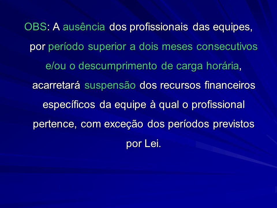 OBS: A ausência dos profissionais das equipes, por período superior a dois meses consecutivos e/ou o descumprimento de carga horária, acarretará suspe