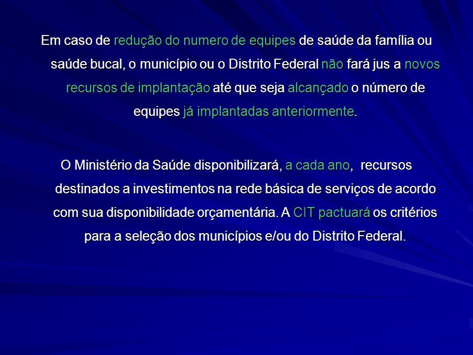 Em caso de redução do numero de equipes de saúde da família ou saúde bucal, o município ou o Distrito Federal não fará jus a novos recursos de implant