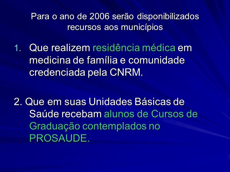 Para o ano de 2006 serão disponibilizados recursos aos municípios 1. Que realizem residência médica em medicina de família e comunidade credenciada pe
