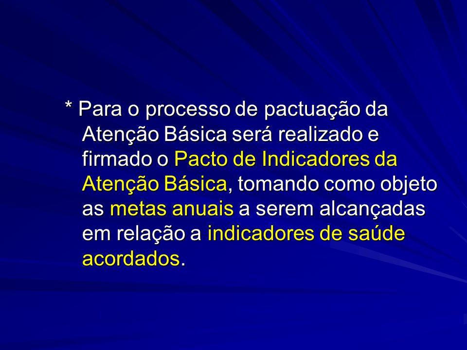* Para o processo de pactuação da Atenção Básica será realizado e firmado o Pacto de Indicadores da Atenção Básica, tomando como objeto as metas anuai