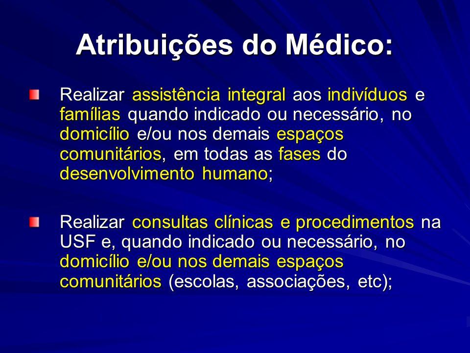 Atribuições do Médico: Realizar assistência integral aos indivíduos e famílias quando indicado ou necessário, no domicílio e/ou nos demais espaços com
