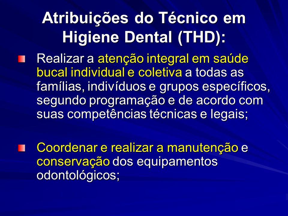 Atribuições do Técnico em Higiene Dental (THD): Realizar a atenção integral em saúde bucal individual e coletiva a todas as famílias, indivíduos e gru