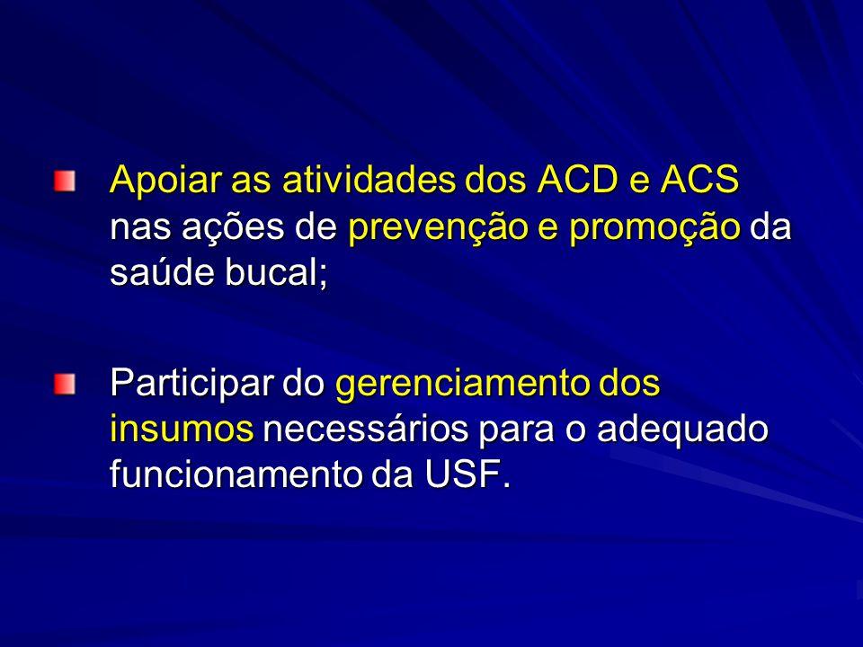 Apoiar as atividades dos ACD e ACS nas ações de prevenção e promoção da saúde bucal; Participar do gerenciamento dos insumos necessários para o adequa