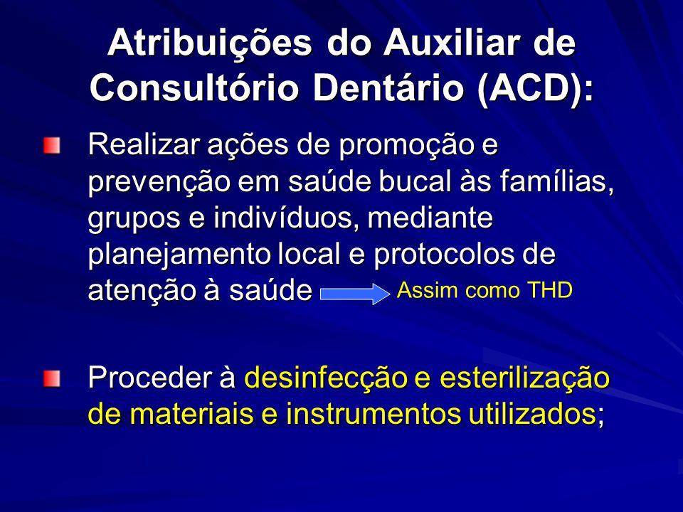 Atribuições do Auxiliar de Consultório Dentário (ACD): Realizar ações de promoção e prevenção em saúde bucal às famílias, grupos e indivíduos, mediant
