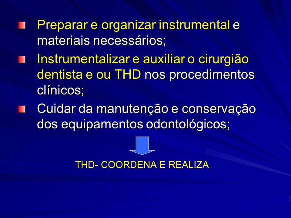 Preparar e organizar instrumental e materiais necessários; Instrumentalizar e auxiliar o cirurgião dentista e ou THD nos procedimentos clínicos; Cuida