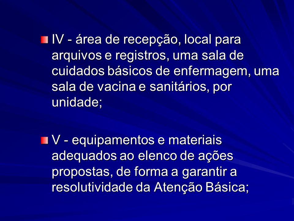 IV - área de recepção, local para arquivos e registros, uma sala de cuidados básicos de enfermagem, uma sala de vacina e sanitários, por unidade; V -