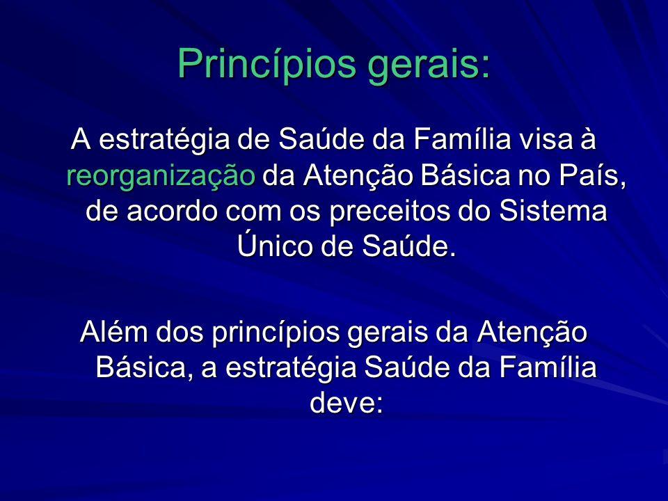 Princípios gerais: A estratégia de Saúde da Família visa à reorganização da Atenção Básica no País, de acordo com os preceitos do Sistema Único de Saú