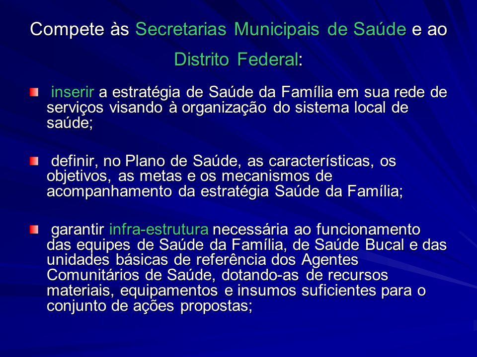 Compete às Secretarias Municipais de Saúde e ao Distrito Federal: inserir a estratégia de Saúde da Família em sua rede de serviços visando à organizaç
