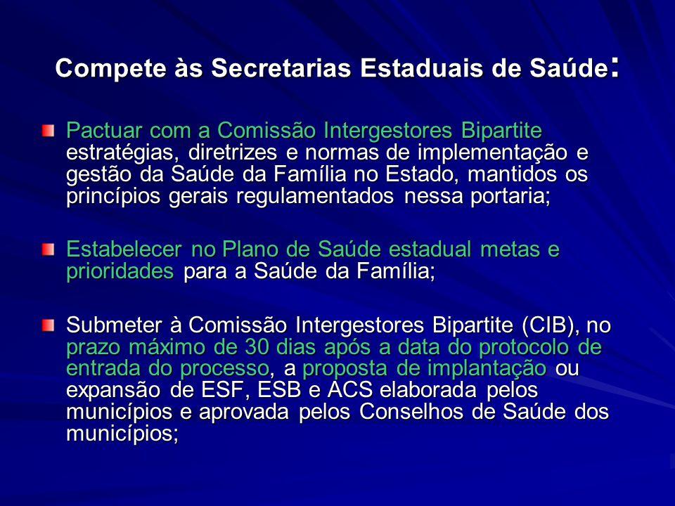 Compete às Secretarias Estaduais de Saúde : Pactuar com a Comissão Intergestores Bipartite estratégias, diretrizes e normas de implementação e gestão