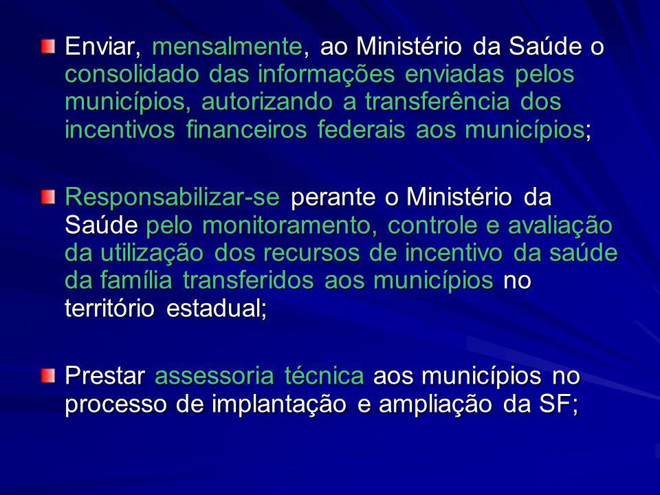 Enviar, mensalmente, ao Ministério da Saúde o consolidado das informações enviadas pelos municípios, autorizando a transferência dos incentivos financ