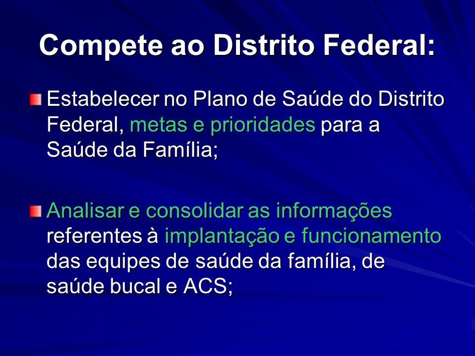 Compete ao Distrito Federal: Estabelecer no Plano de Saúde do Distrito Federal, metas e prioridades para a Saúde da Família; Analisar e consolidar as