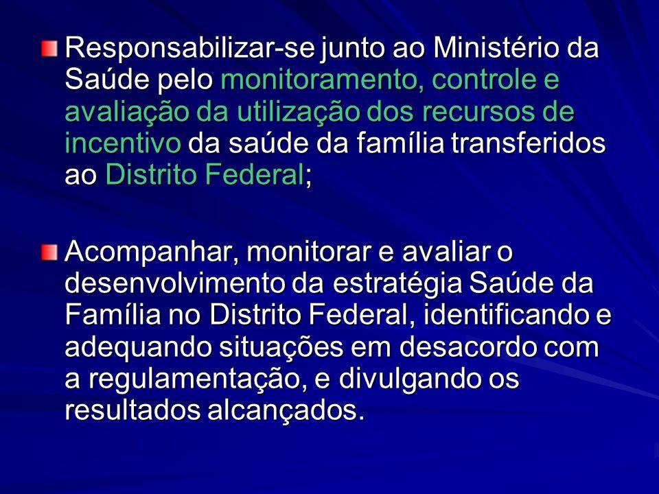 Responsabilizar-se junto ao Ministério da Saúde pelo monitoramento, controle e avaliação da utilização dos recursos de incentivo da saúde da família t