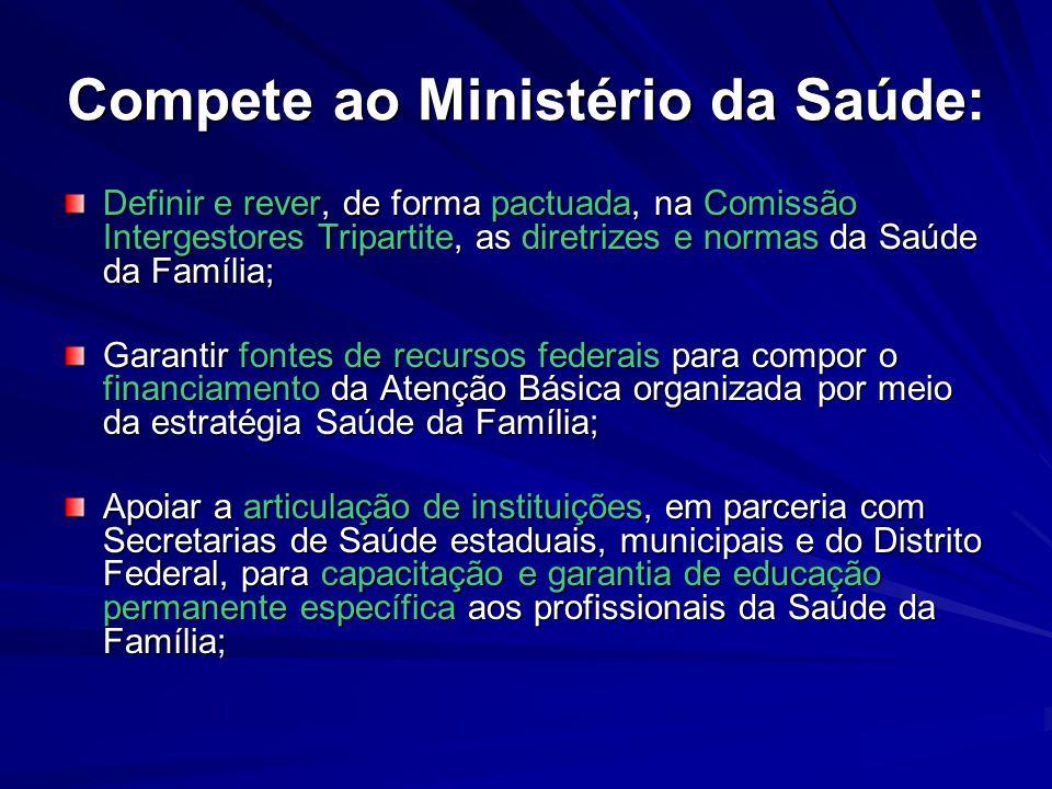 Compete ao Ministério da Saúde: Definir e rever, de forma pactuada, na Comissão Intergestores Tripartite, as diretrizes e normas da Saúde da Família;