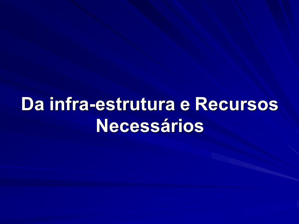 Da infra-estrutura e Recursos Necessários