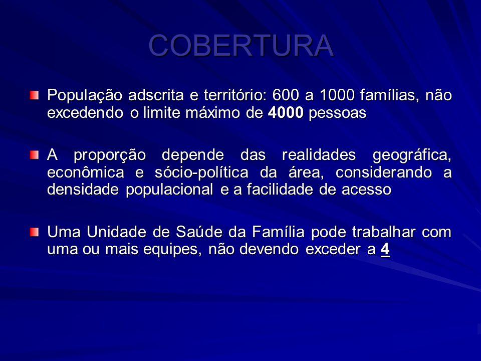 COBERTURA População adscrita e território: 600 a 1000 famílias, não excedendo o limite máximo de 4000 pessoas A proporção depende das realidades geogr