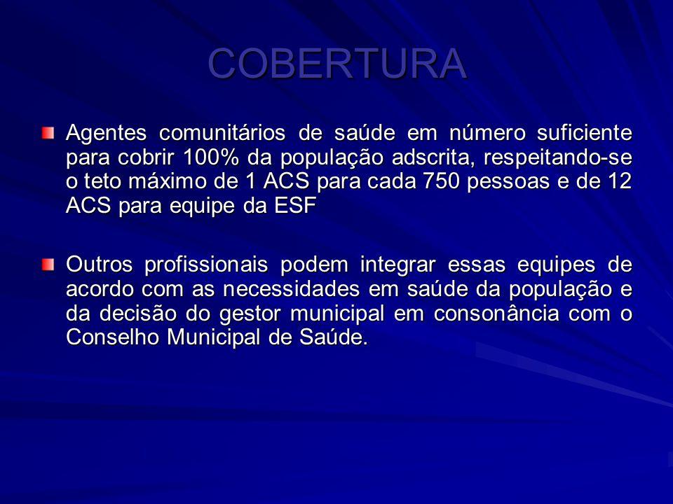 COBERTURA Agentes comunitários de saúde em número suficiente para cobrir 100% da população adscrita, respeitando-se o teto máximo de 1 ACS para cada 7